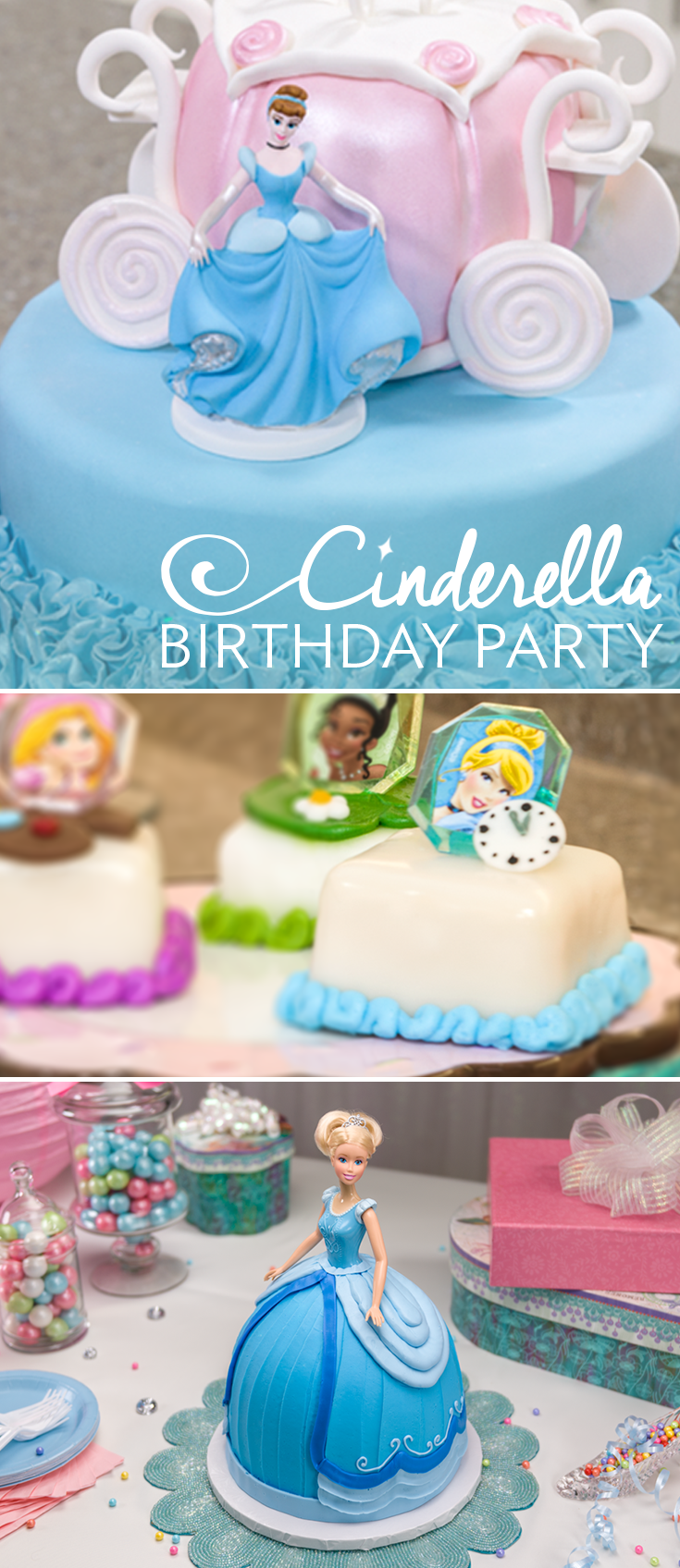 Pick out cake toppers and cupcake rings for a magical Cinderella