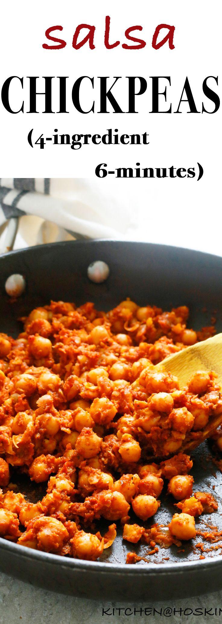 6 Minutes 4 Ingredient Salsa Chickpeas