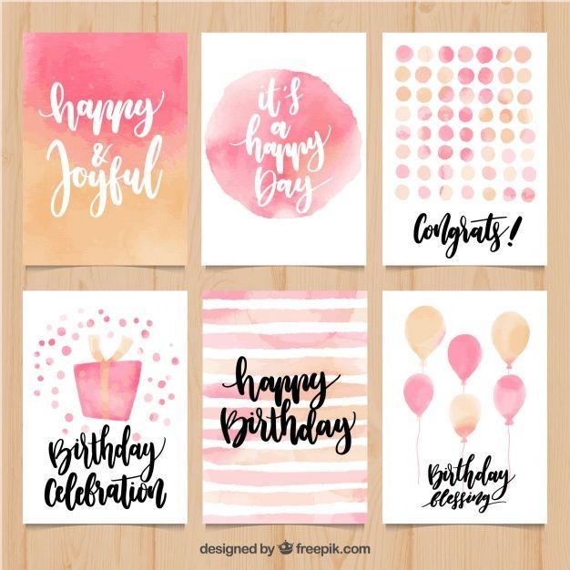 Collection De Carte D Anniversaire Abstraite D Aquarelle