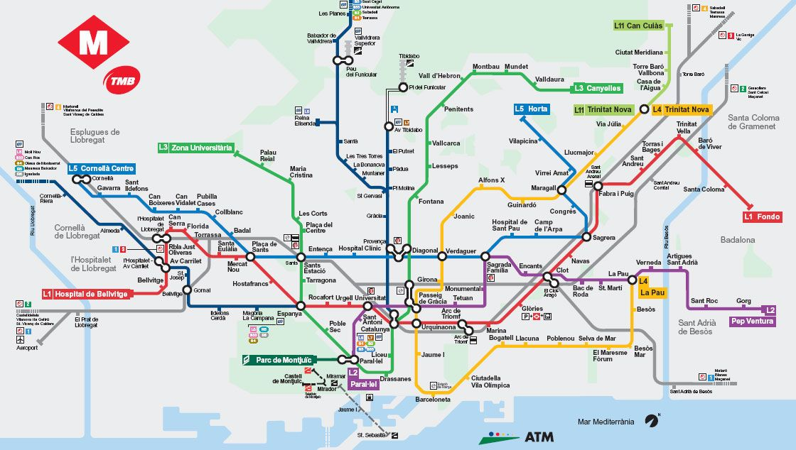 Carte Barcelone Metro.Pour Decouvrir Tout Barcelone Facilement Son Reseau De