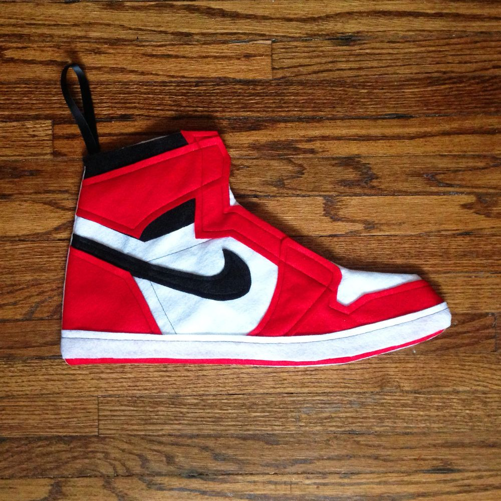 Christmas Stocking Inspired By The Air Jordan 1 Sthis Cool Red White And Black Is Hand Sewn Out Of Felt Material