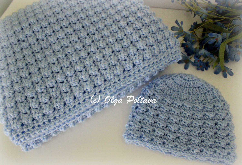 Baby Boy Set Crochet Pattern, Baby Blanket and Hat, Easy Crochet ...