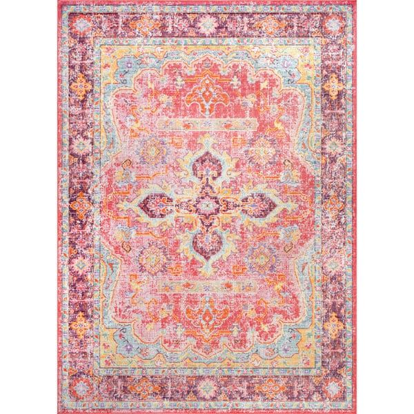 nuLoom Traditional Vintage Faded Cardinal Medallion Border Pink Rug ...