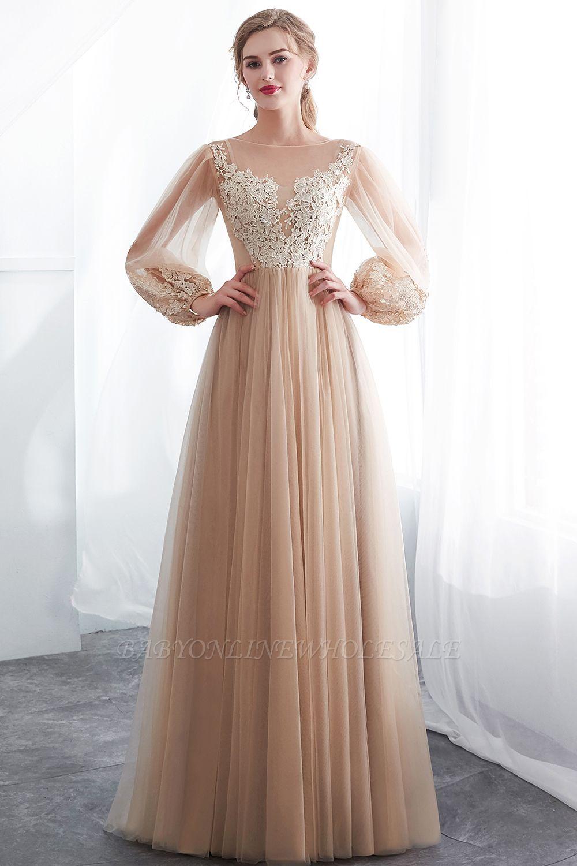 Natalie A Line Long Sleeves Appliques Tulle Champagne Evening Dresses Pakaian Pesta Gaun Perempuan Pakaian Wanita [ 1500 x 1000 Pixel ]