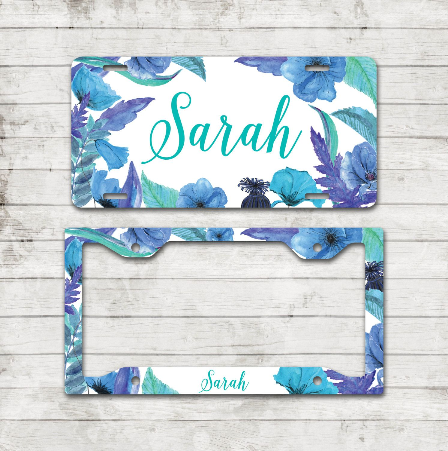 Floral license plate beautiful blooming blue flowers