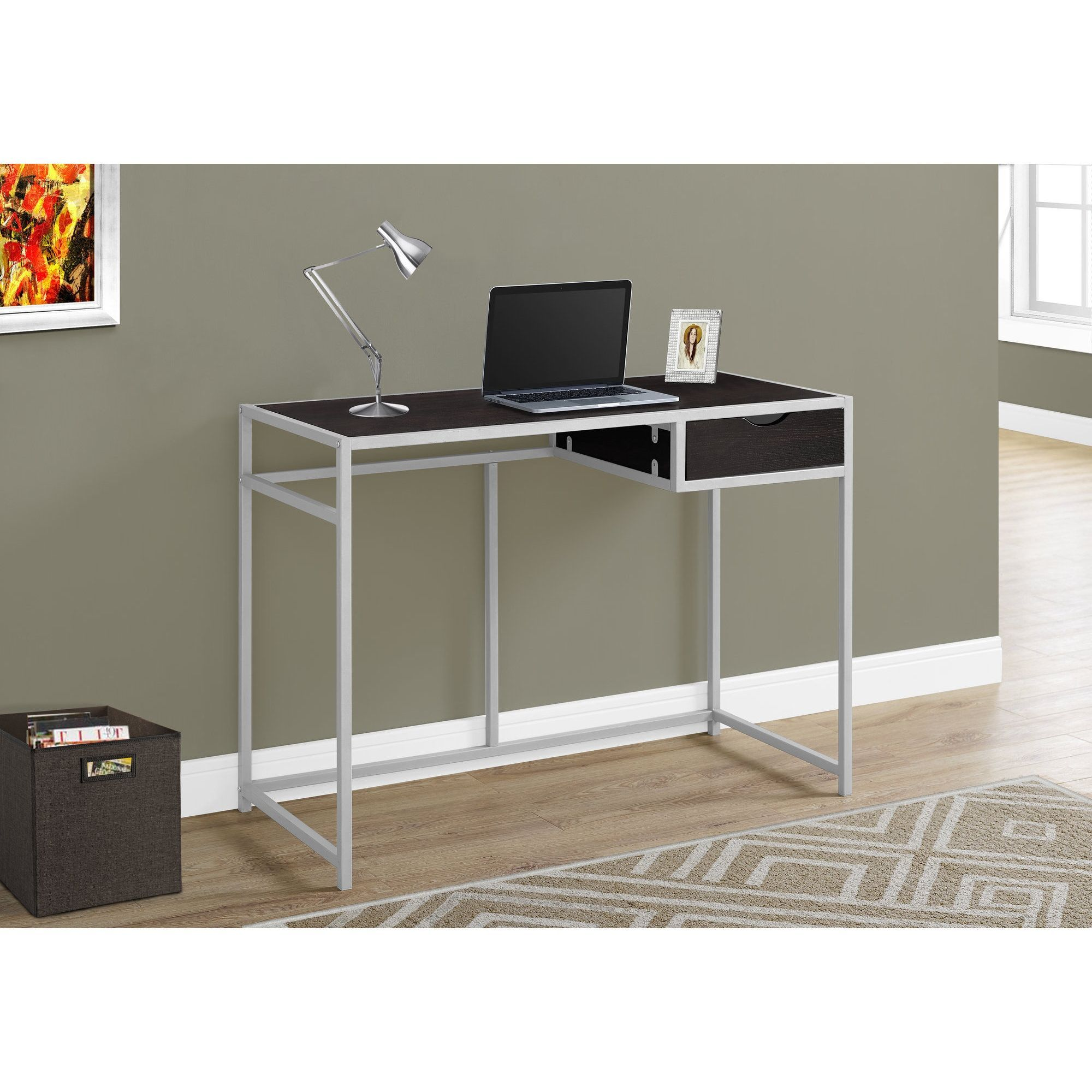 Cappuccino and Silver Metal 42inch Computer Desk