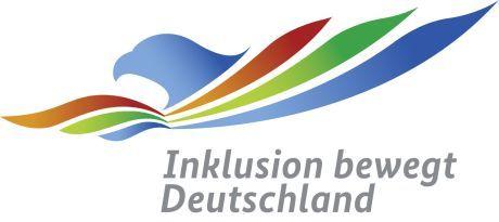Logo Inklusionslandkarte: Profil eines Vogels mit bunten Schwingen