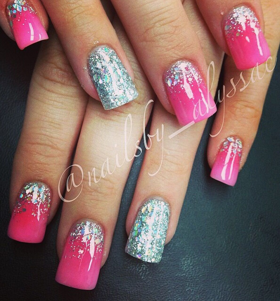 Pink and silver nails - Pink Acrylic Ombr Faded Silver Glitter And Accent Nail Nails Done By Alyssa Cartwright Follow