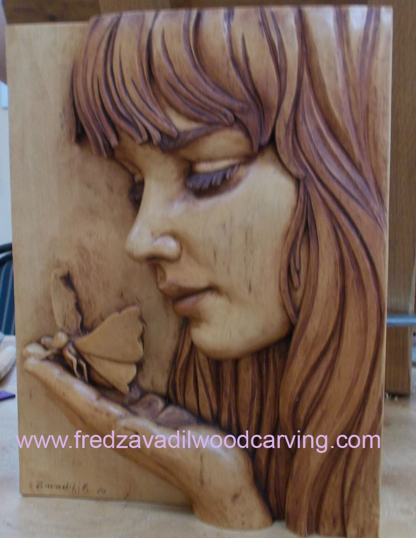 Relief Woodcarving By Fred Zavadil Girl With A Butterfly More