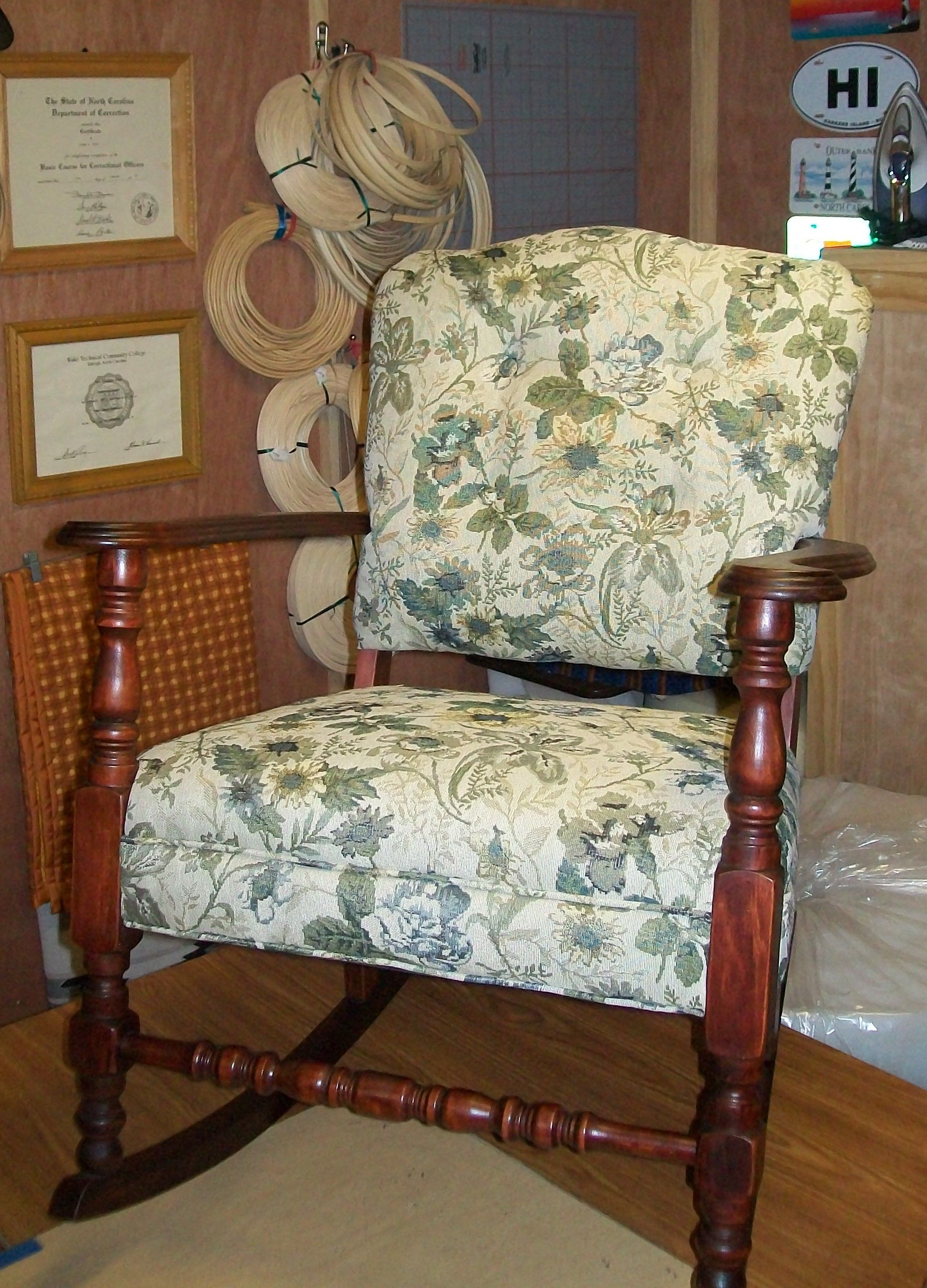 1930 S Rocker Makeover Cherry Woodwork Stripped And Refinished Reupholstered In True To The Period Tapestry Fabric