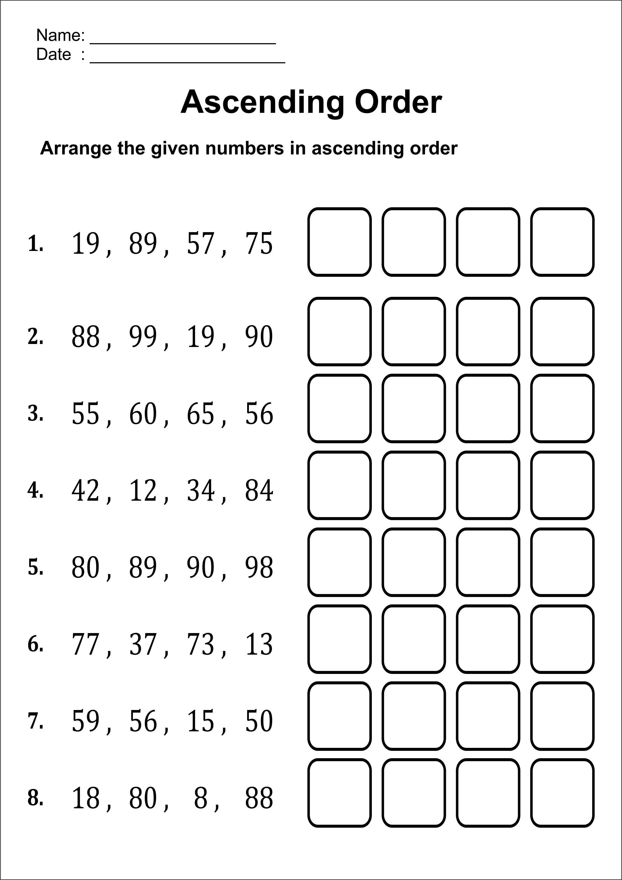 Ascendingorder Numbersworksheet Mathwoksheetgrade1