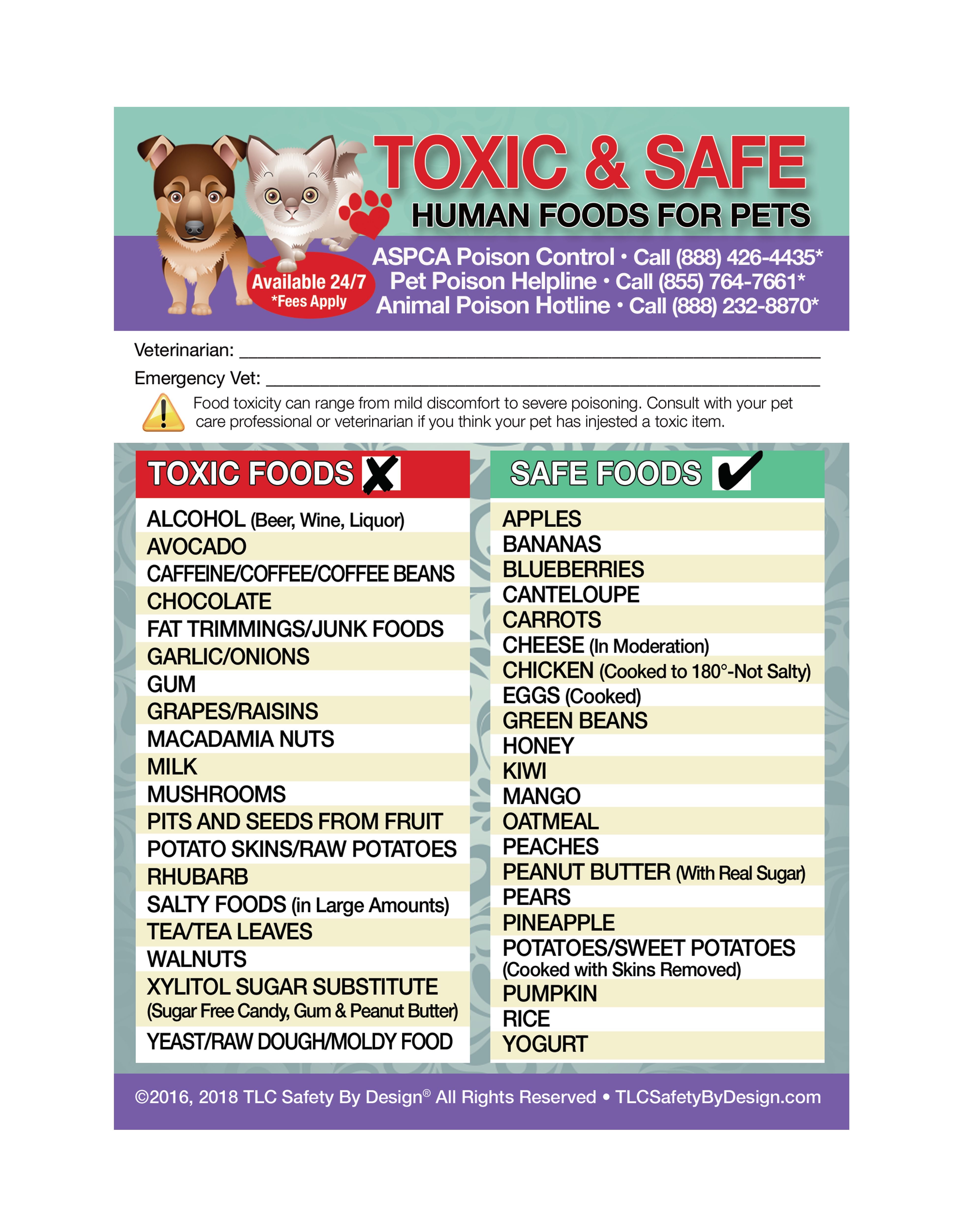 Enhanced Toxic And Safe Foods 5 X7 For Pets Dogs Cats Fridge