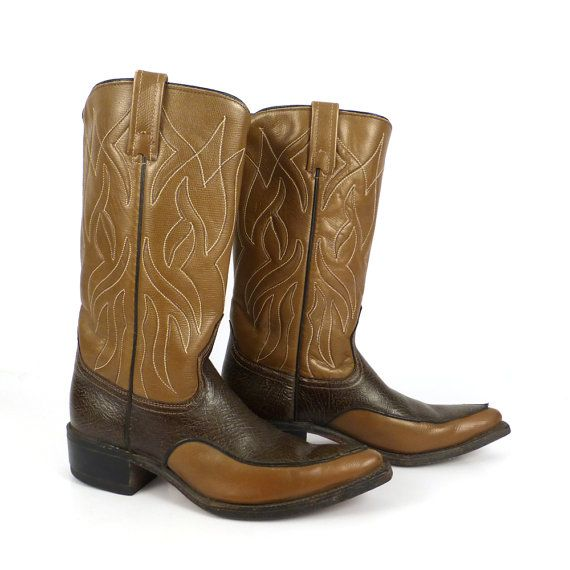9d9aad5ff6c Acme Cowboy Boots Vintage 1960s Two tone Brown Leather Women's size ...
