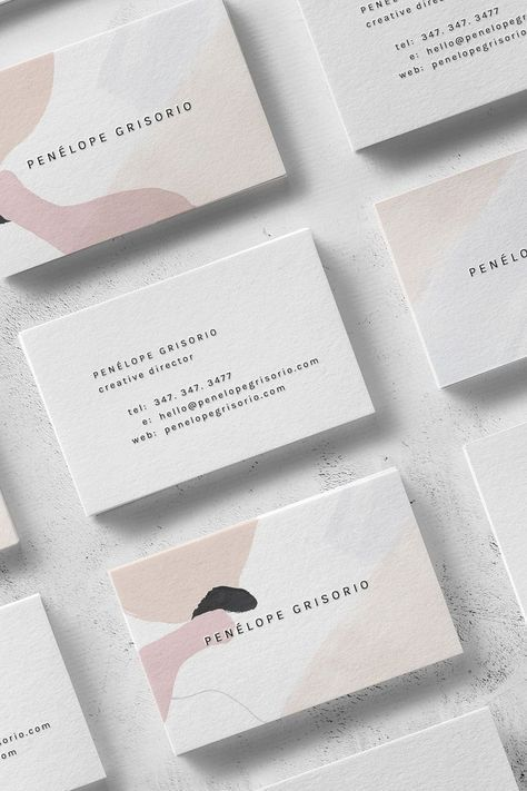 Penélope Business Card Template — The Denizen Co is part of Business logo inspiration, Business card inspiration, Creative business, Business card template, Business logo, Card template - The  Penélope  is an airy and endearing template that is well suited for those seeking to showcase their own work  With its clean typeface and wellbalanced layout, it can be seamlessly adapted into many professions and services while maintaining a cosmopolitan edge   Sample illustration by    Wilde