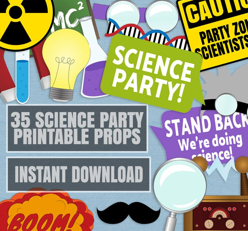 35 Science Party Photo Booth Props, Scientist Themed Photobooth ...