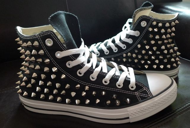 8ffbcf0a109 Fashion DIY - COMPLETED Studded Converse High Tops