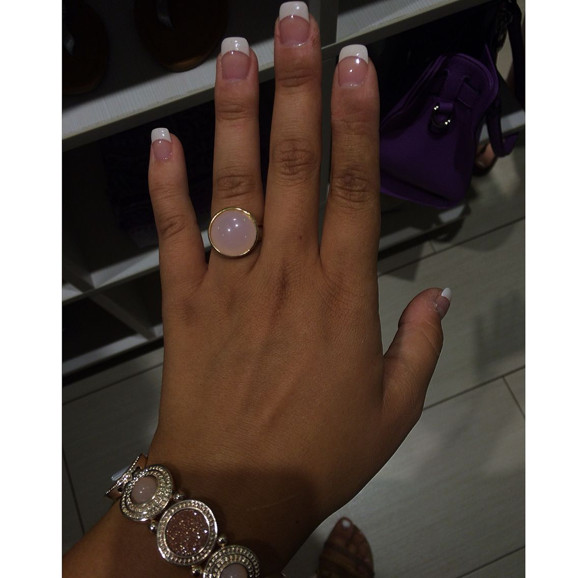 Cute, nails, French tips, cute ring, fake nails, plain French tips ...