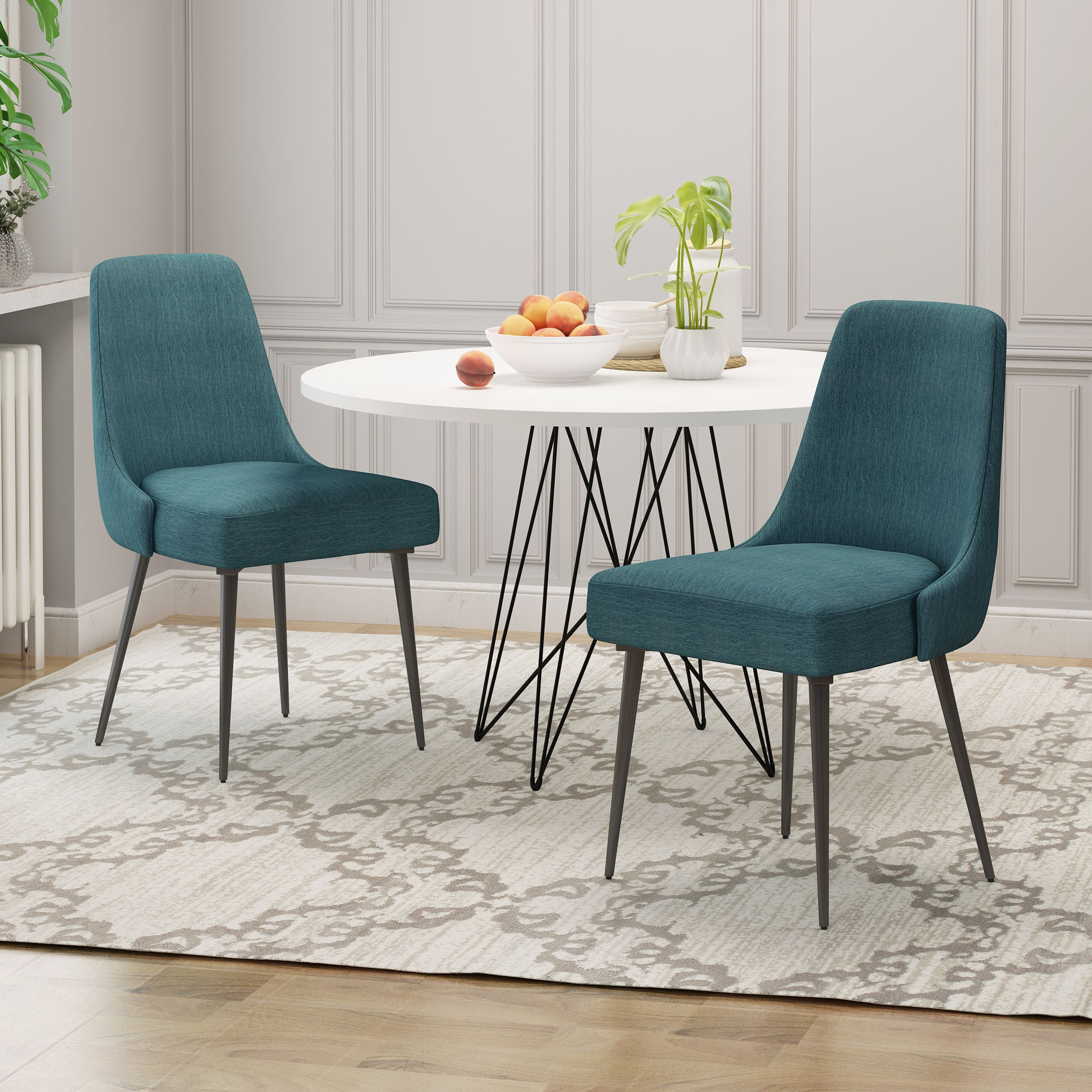 Ella Modern Fabric Dining Chairs Set Of 2 Fabric Dining Chairs Dining Chairs Modern Fabric Dining Chairs