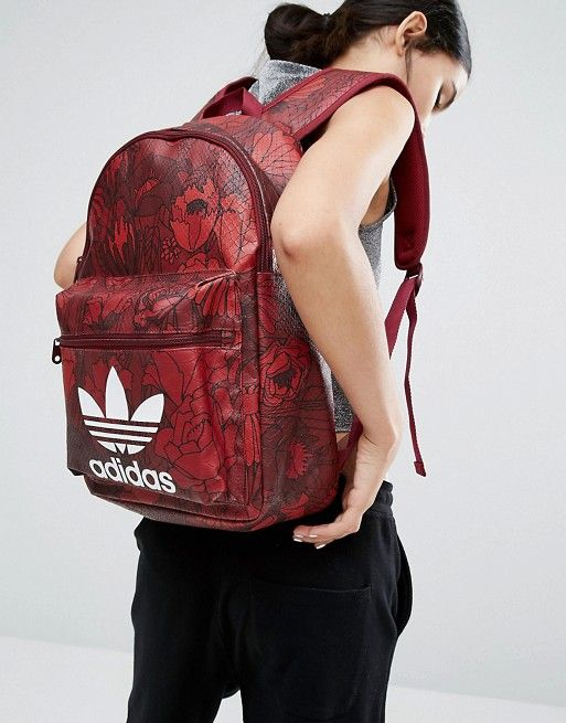 adidas Originals Floral Print Backpack With Trefoil Logo  8008683a72d7
