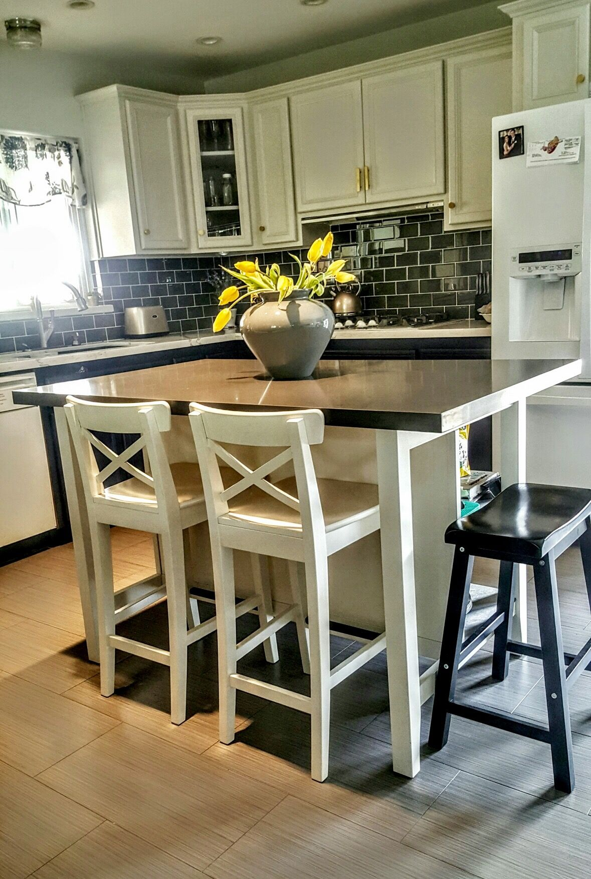 24 inch counter chairs threshold windsor dining chair black #ikea #stenstorp #kitchen island hack. we added grey quartz on top with more room to add a ...