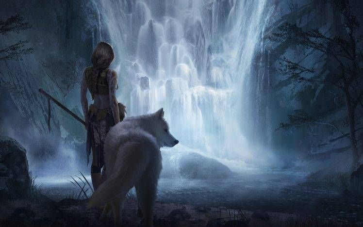 Fantasy Art Women Wolf Hd Wallpaper Desktop Background Fantasy Wolf Monster Artwork Art