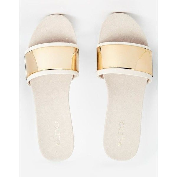 e9748d21d39 ALDO Desserat White Gold Mule Flat Sandals Polyvore ❤ liked on Polyvore