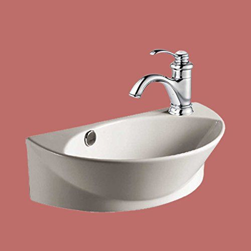 Wall Mount Porcelain Sink Single Hole Faucet Not Included Above Counter Offset Right Space Saver Overflow Hole Easy Sink Wall Mounted Sink Vessel Sink Bathroom