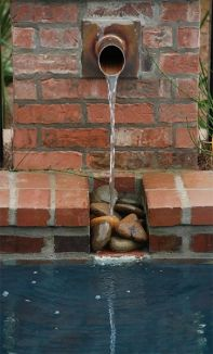 Copper Scupper River Rock Niche In Pool Brick Water Feature Water Features Pinterest