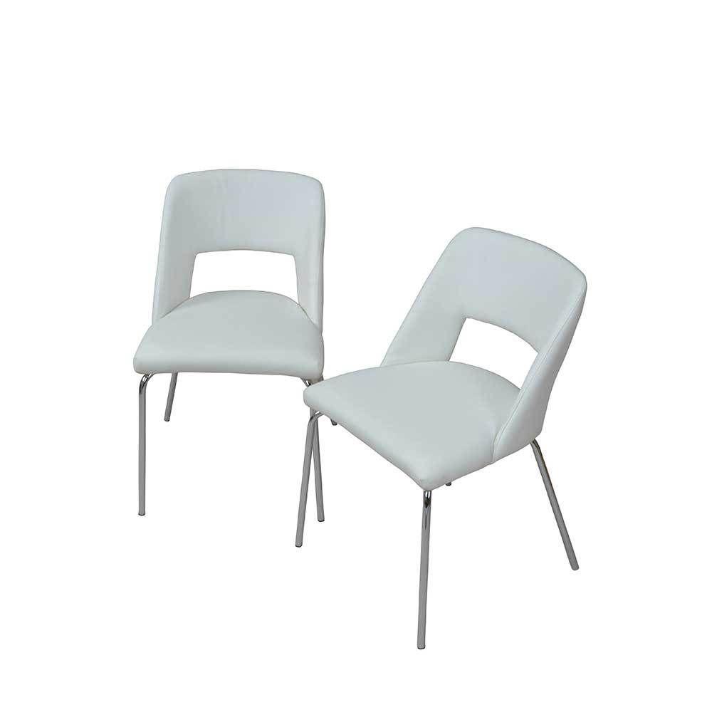 Schön Esstischstuhl Weiß Dekoration Von Set In Weiß Kunstlederbezug (2er Set) Jetzt