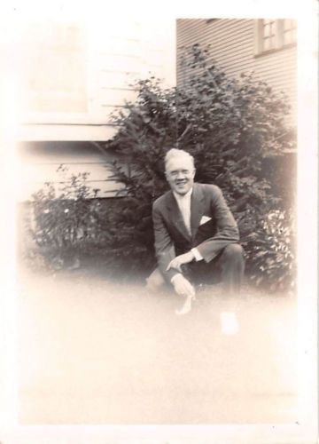 Photograph Snapshot Vintage Black and White: Elderly Man Suit Smile 1950's