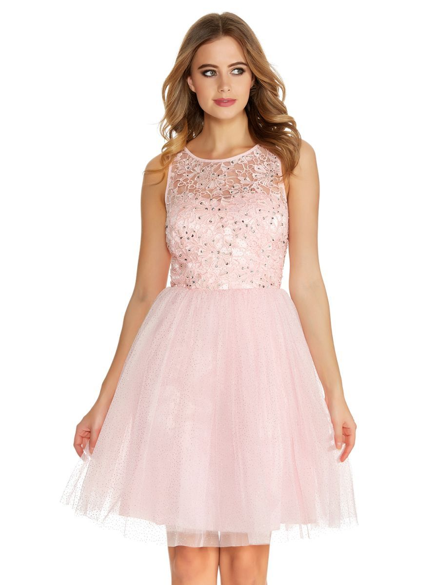 Pale Pink Glitter Mesh Flower Prom Dress - Quiz Clothing | prom ...