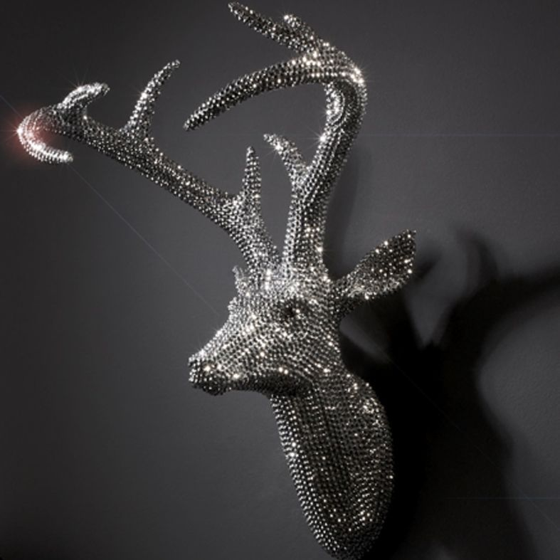 Relatively Large Crystal Sparkly Diamante Deer Head Wall Art | Crystals  HH16