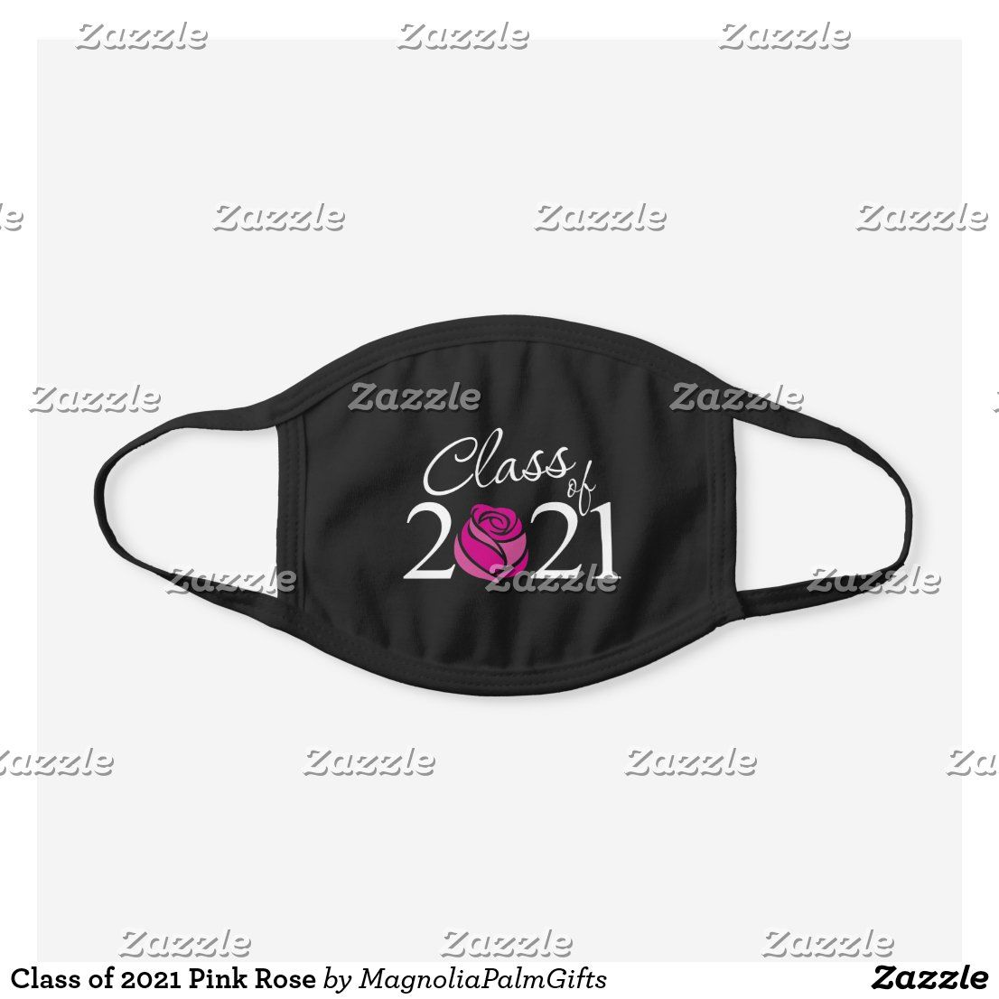 Class of 2021 pink rose black cotton face mask zazzle
