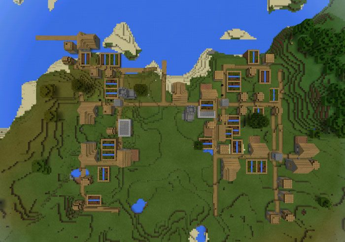 Minecraft PE seed Triple Village Spawn http
