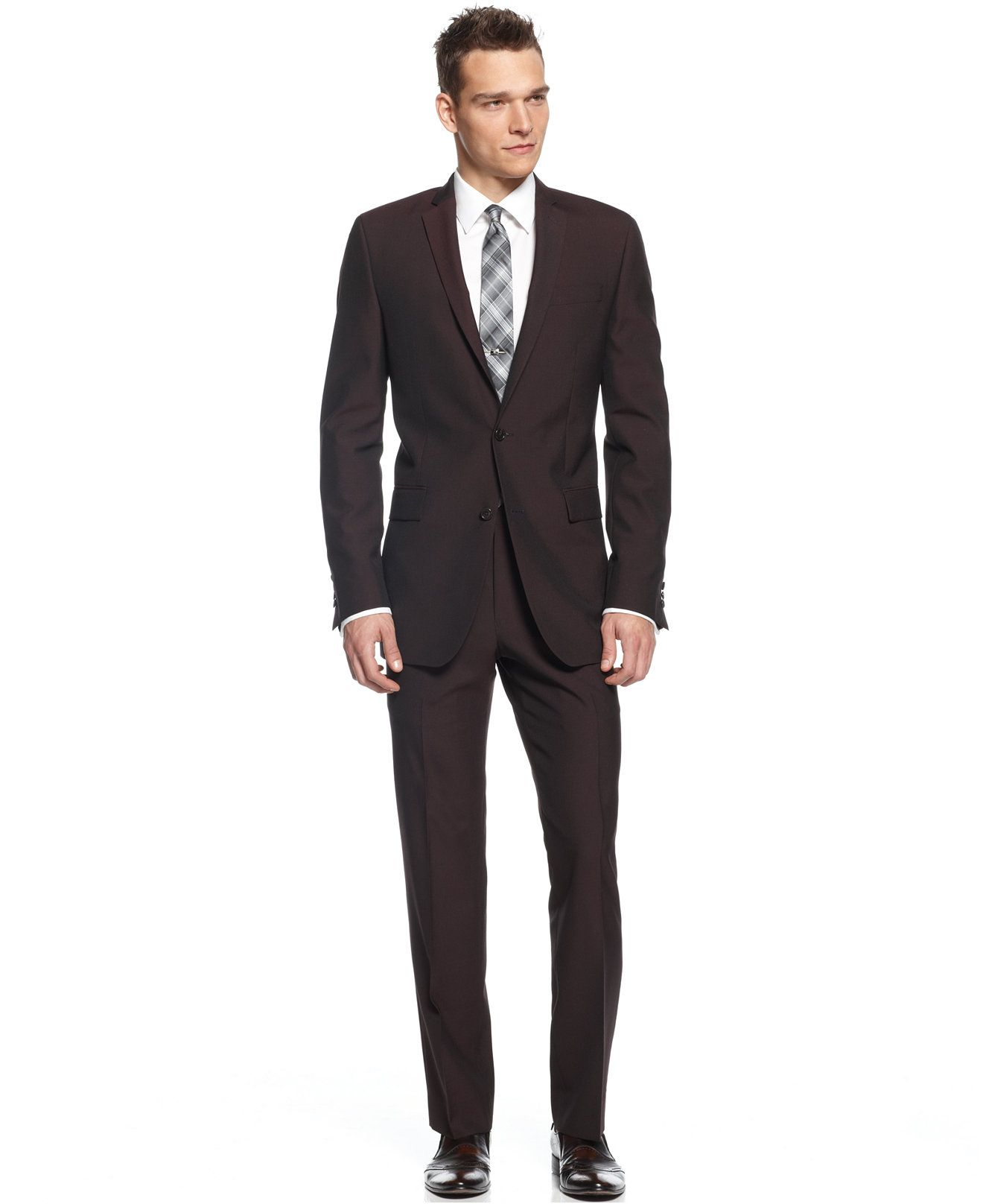 Calvin Klein X-Fit Burgundy Solid Extra Slim Fit Suit Separates ...