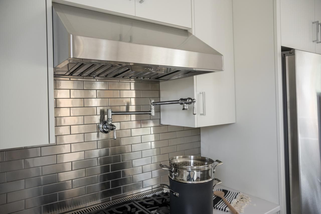 stainless steel backsplashes for kitchens pictures of the hgtv smart home 2015 kitchen white 25938