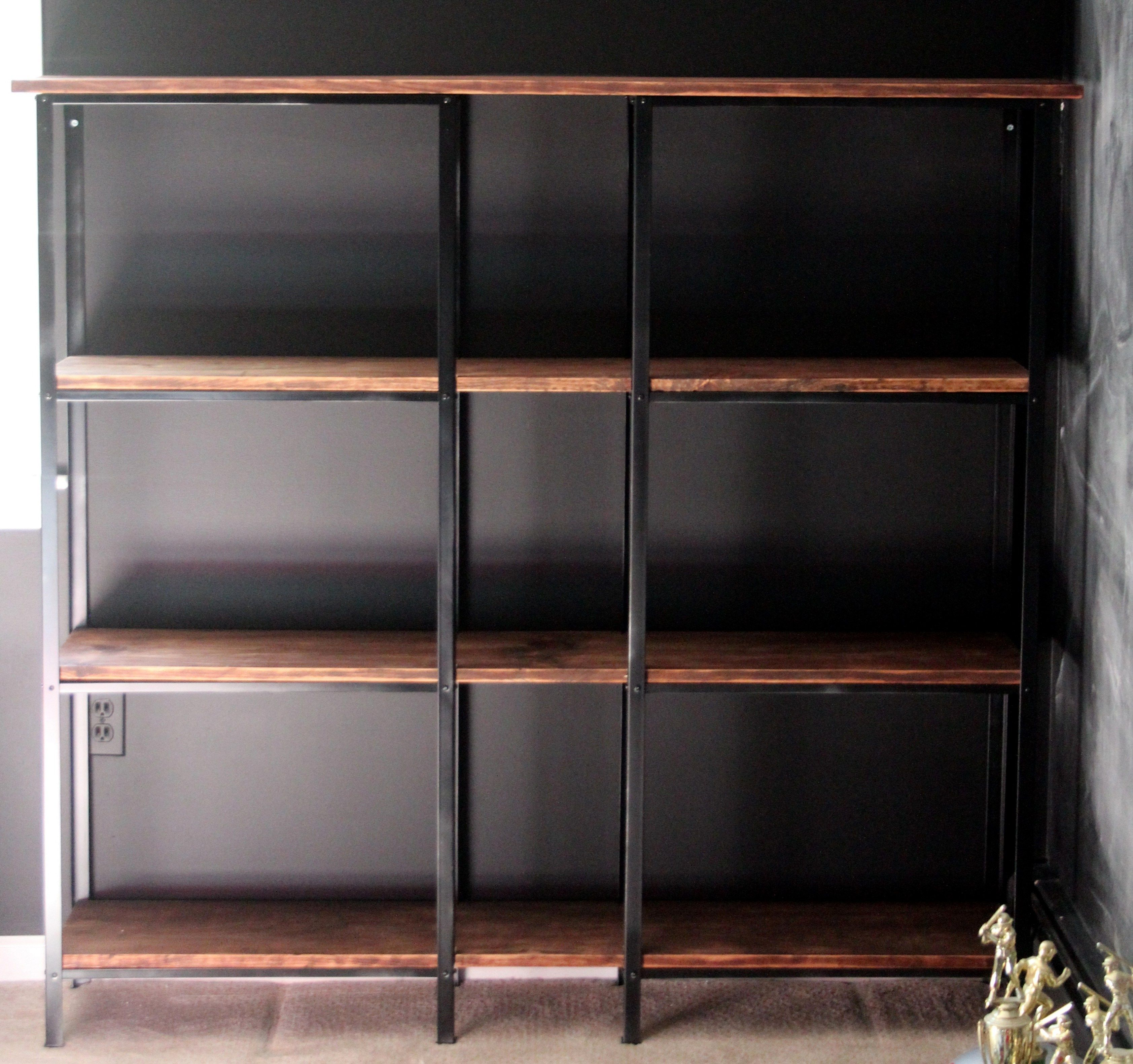 Cheap metal shelves turned into high-end bookcase.