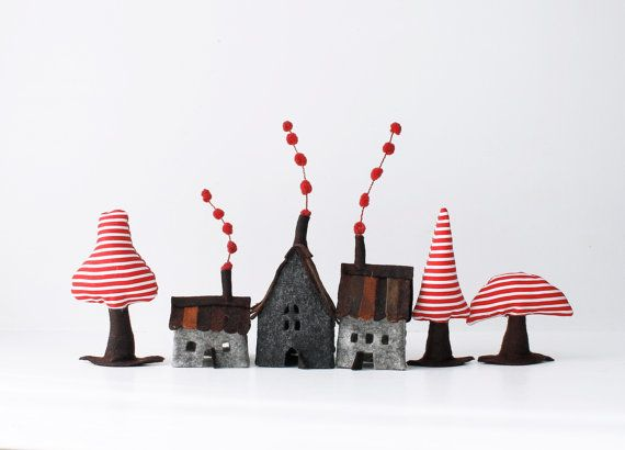 Houses miniature ornament Miniature sweet Grey shades by Intres