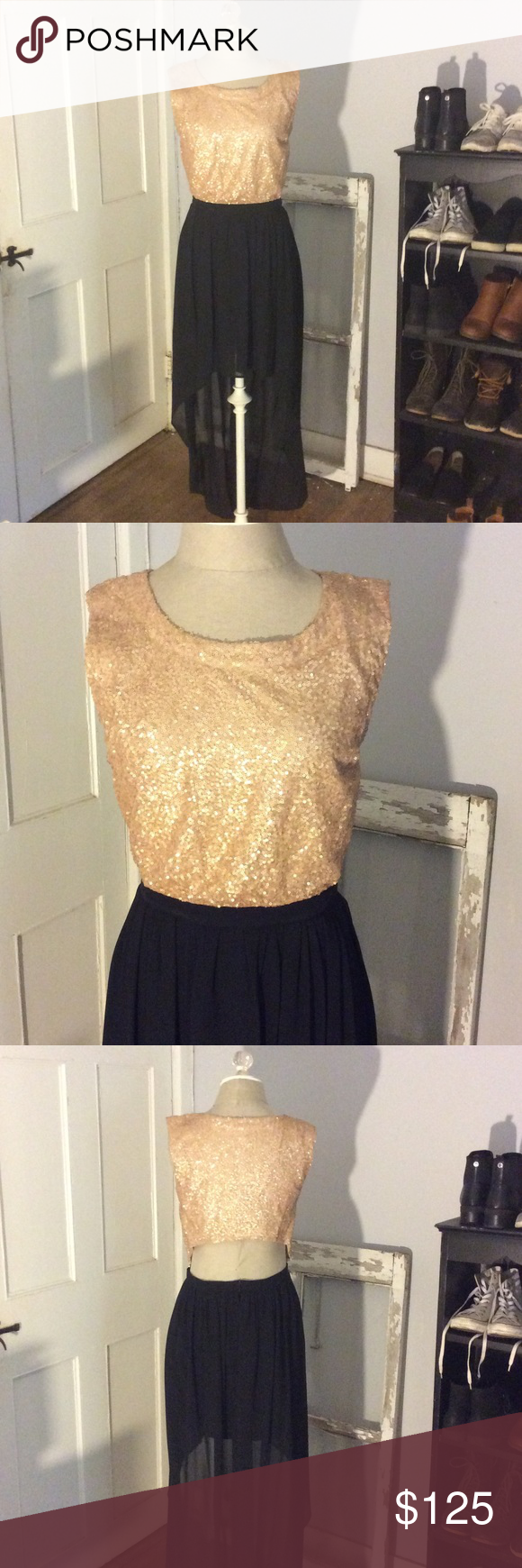 Black and gold sequined dress dress prom sequins and prom