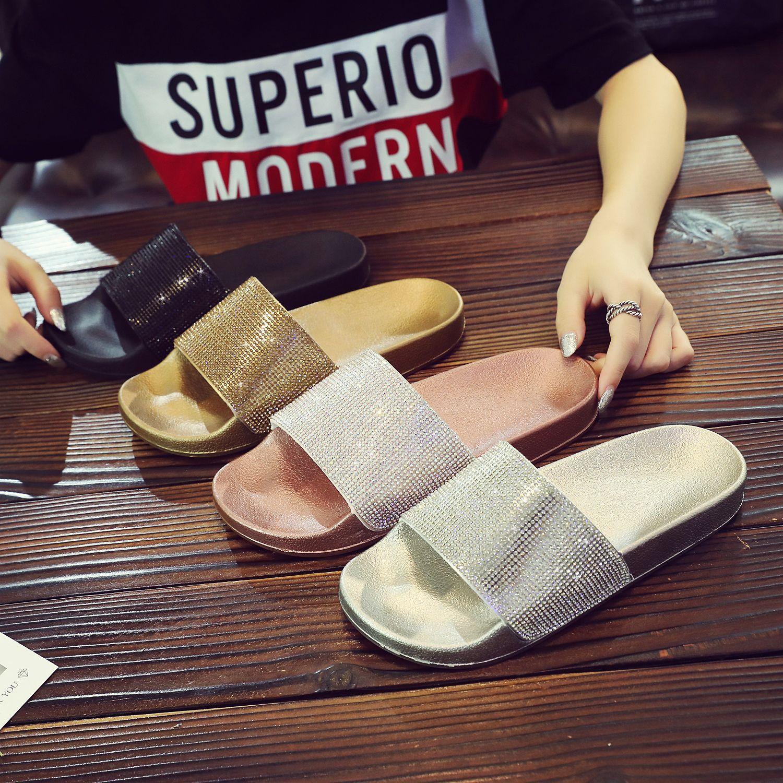 Women Slippers Flip Flops Summer Slides Women Shoes Crystal Diamond Bling Beach Slides Sandals Casual Shoes Slip On