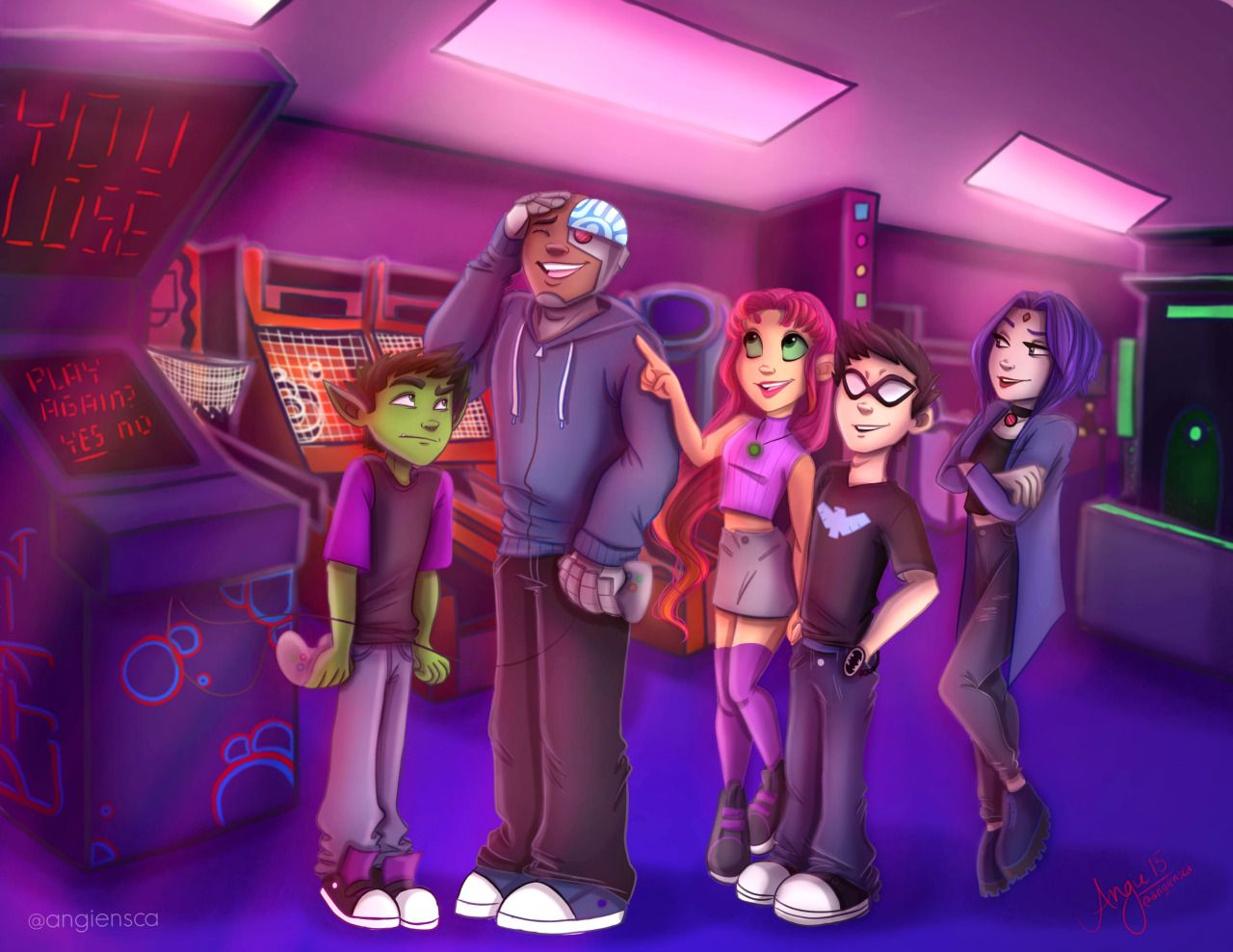 Modern Teen Titans At The Arcade C To See More Of My Art