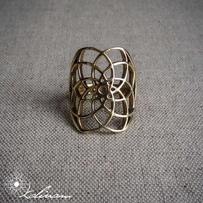 Seed Of Life Ring | Sacred Geometry Ring | Boho Ring |  Brass Ring | Yoga Jewelry | Spiritual Ring Gift by KalinamArte on Etsy