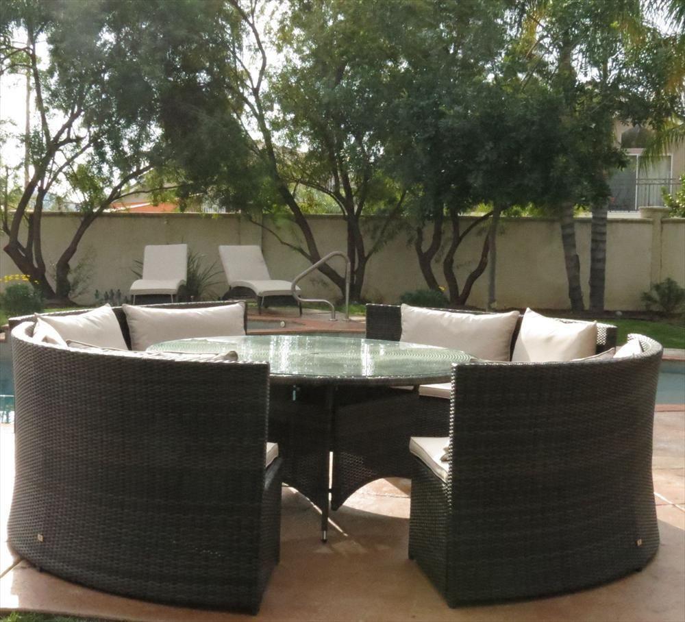 BuildDirect U2013 Patio Furniture   Monte Carlo Series U2013 5 Piece Curved Bench  Dining Set