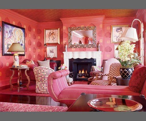 Pink living room by designers R. Edward Bouchard and Marion E. Yeck ...