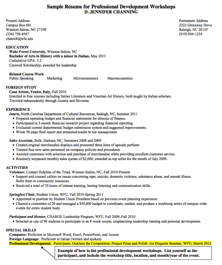 Sample Resume For Professional Development Workshops  Http