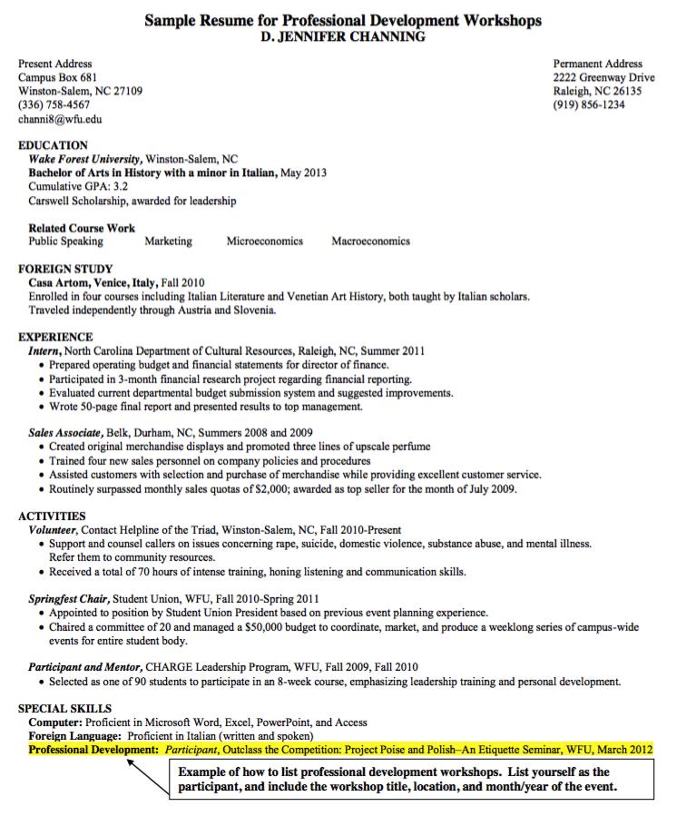 sample resume for professional development workshops http
