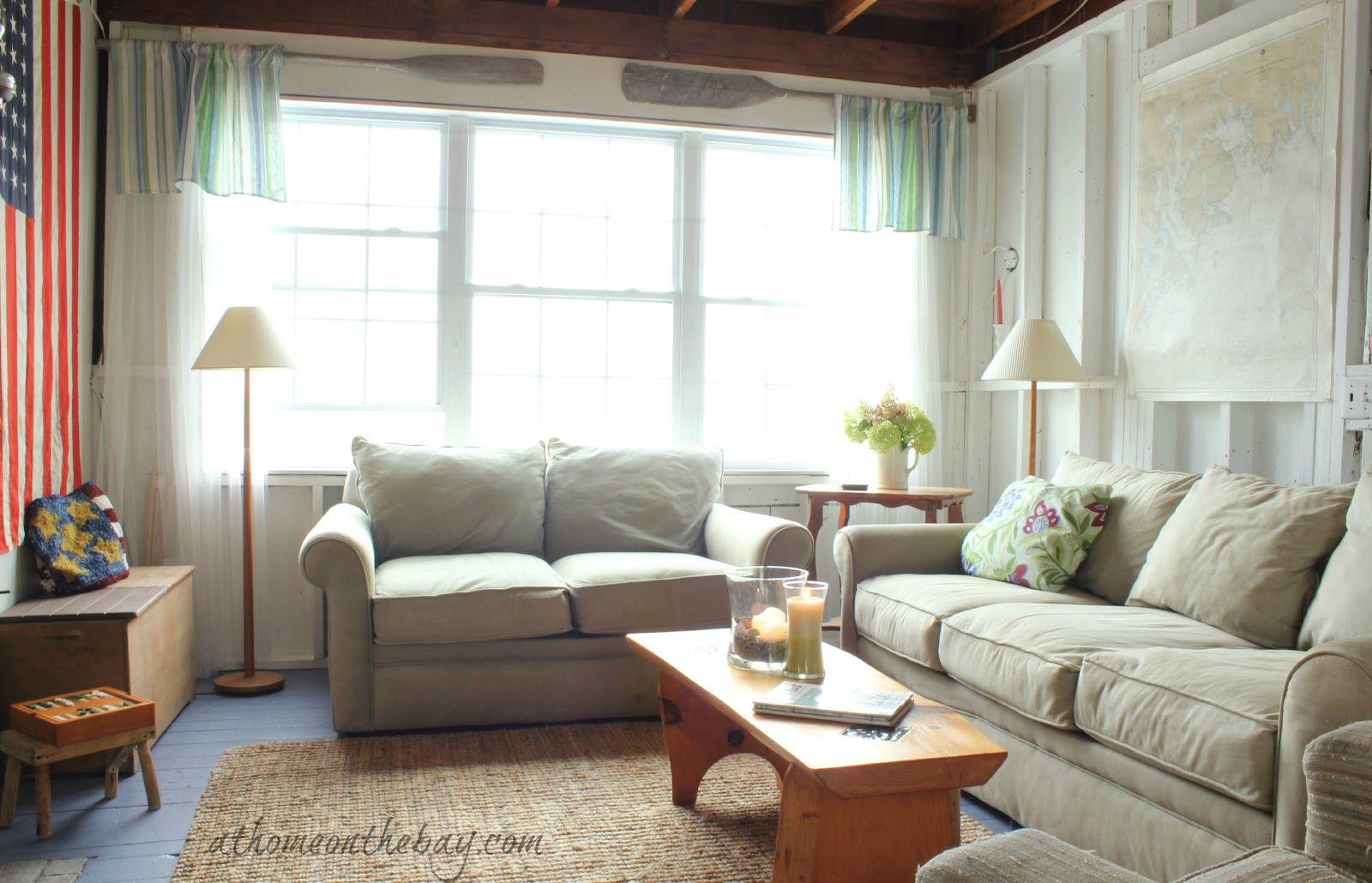 love how they used boat oars for curtain rods! A Coastal Cottage ...