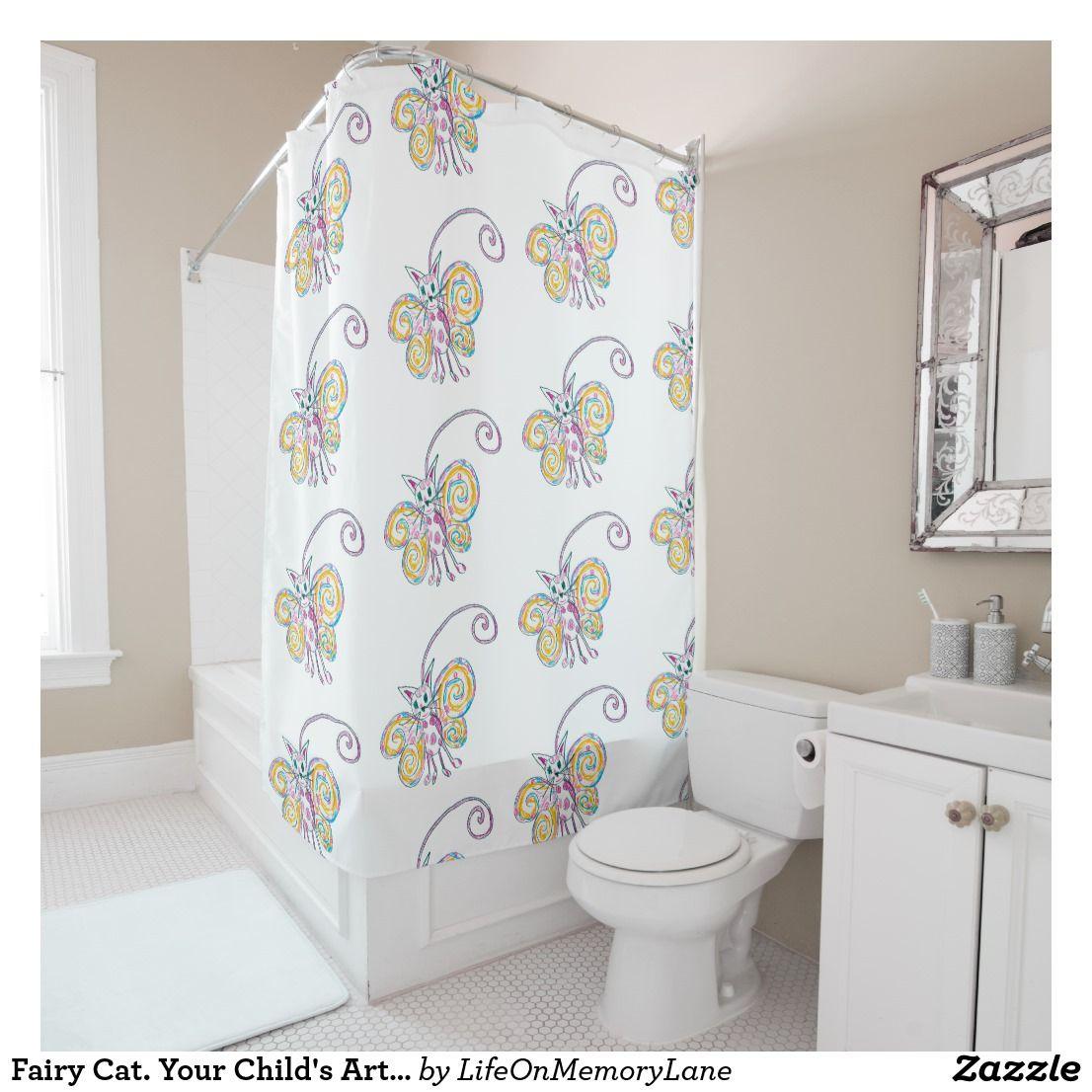 Fairy Cat Your Child S Art Template Shower Curtain Zazzle Com