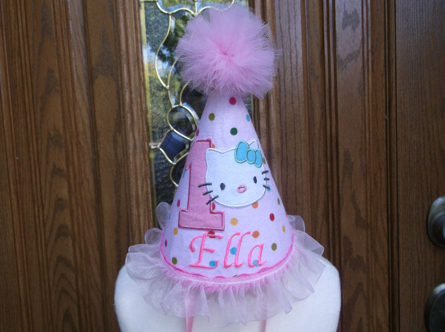 c93978791 Girls 1st Birthday Party Hat -- Hello Kitty Birthday Theme - Free  Personalization - FAST SHIPPING. $24.99, via Etsy.