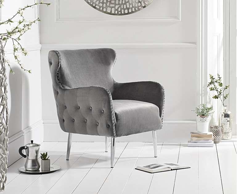 Basil grey velvet accent chair accent chairs velvet